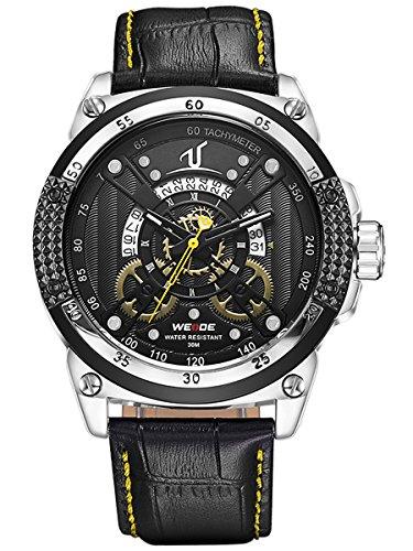 Alienwork Orologio quarzo XXL Oversized quarzo sport Cuoio giallo nero WD.UV1605-5 - Pelle Tourbillon Cronografo