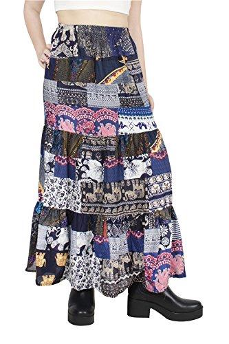 Lofbaz Women Glamorous Patchwork Bohemian Skirt - Suave y Ligera - Tela de rayón - Azul - OS