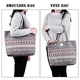 DCCN Womens Canvas Shopper Bag Ladies Canvas Handbag Tote Bag with Floral Pattern