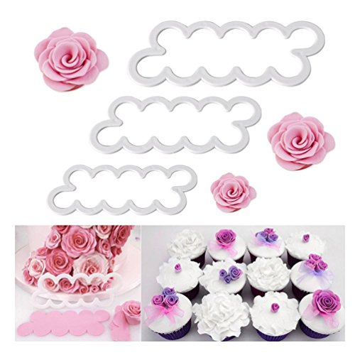 Albeey 3 Stück Rose Fondant Cutter Ausstechform Blume Press Plätzchenform Kuchen Dekoration
