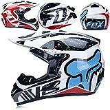 MLONG Adulti Casco da Motocross Caschi per Guanti da Motocross per Cross e off-Road Motocicletta ATV (Set di 4 Pezzi),I,M