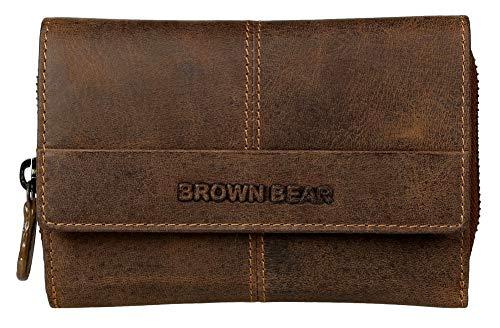 Vintage Leder Braun (Brown Bear Geldbörse Damen Leder Braun Vintage RFID Schutz groß viele Fächer Reißverschluss-Fach hochwertig Geldbeutel Frauen Portemonnaie Portmonaise Portmonee Ledergeldbeutel Ledergeldbörse)