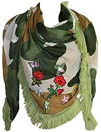 KARL LOVEN Foulard Femme Camouflage Avec broderies Girly et Franges - étole  - pashmina - écharpe fc1eb46b031