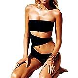 DELEY Mujeres Una Sola Pieza Acolchada Push Up Negro Del Bikini Trikini Monokini