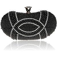 Le borse del sacchetto del sacchetto di sera di banchetto del vestito da sposa della frizione sacchetto di modo del sacchetto nuovo diamante di perline borsa hasp ( colore : Nero )