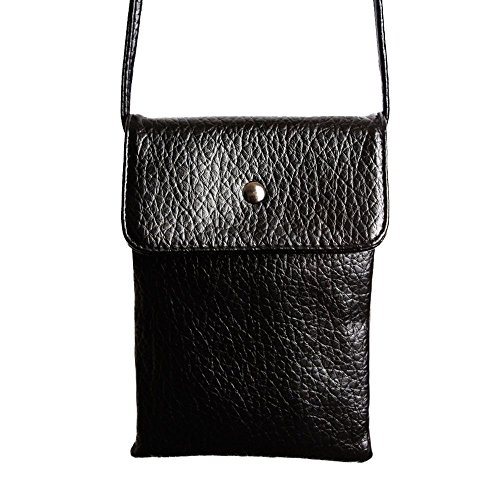 CellularOutfitter Compact Vegan Leather Crossbody Shoulder Bag - Pebbled Grain Detailing, Secure Closure - Black (Top-grain-pearl)