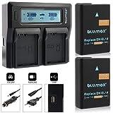 Blumax 2X Ersatzakku für Nikon EN-EL14 / EN-EL14a mit 1100mAh Doppelladegerät für Nikon Nikon D3100 D3200 D3300 D3400 D5100 D5200 D5300 D5500 D5600 - Nikon Coolpix P7100 P7000 P7800