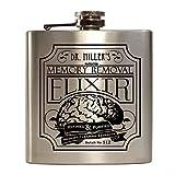 E-Volve Edelstahl Hochwertiger Flachmann Hip Flask 6oz Für Alkohol Whisky / Vodka / Gin - Silber (Memory Removal Elixir)