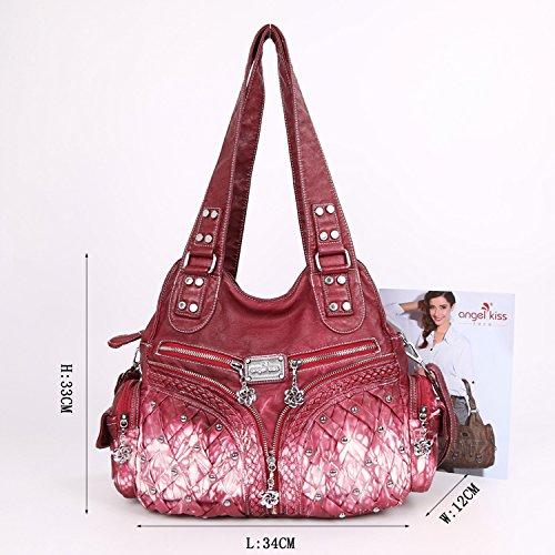 Angelkiss 2 Top Cerniere di chiusura tasche multiple Borse Lavato Borse a tracolla borse in pelle XS160196 / 1 Rosso