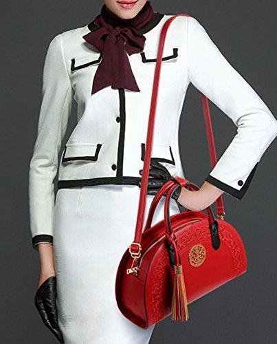 Longzibog Dual verstellbare Schultergurte und Hängeschlaufenband 2016 Neue Simple Style Fashion Tote Top Handle Schulter Umhängetasche Satchel Schwarz