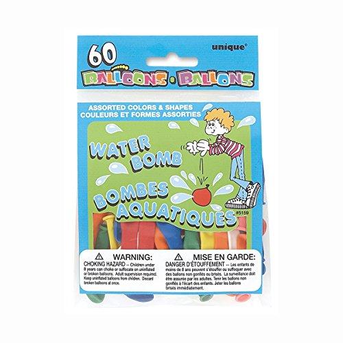 Unique Party Paquete de 60 Globos de Agua de látex, Color (Assorted Bold), Pack of 60 (5158)
