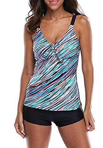 Spring Fever Femme Rétro Oceanic Rayures Tankini deux pièces Imprimé maillots de bain de bain Suit XXL bleu