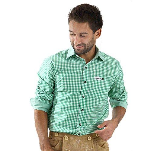 ALMBOCK Trachtenhemd Herren kariert   Slim-fit Männer Hemd hellgrün mint-grün kariert   Karo Hemd aus 100% Baumwolle in den Größen (Shirts Trachten)