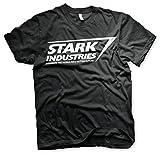 Iron Man T Shirt Stark Industries Logo Avengers Offiziell Marvel Ironman (L, Schwarz)