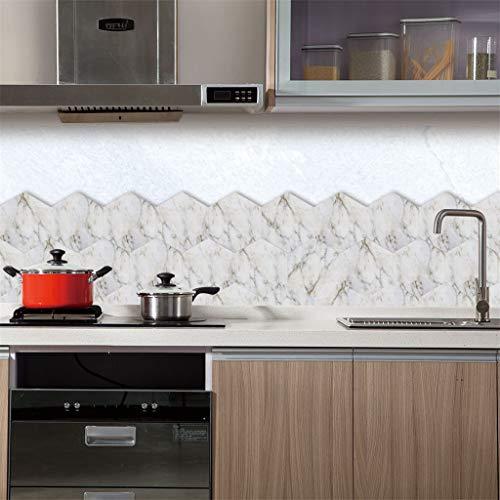 LQ- Door Sticker Kreative 3D-Selbstklebende Wandpaneele Sechseckig Weißer Marmorfliesen-Aufkleber Für TV-Wände/Sofa-Hintergrund Küchenwand-Dekor Wandaufkleber,5Pack