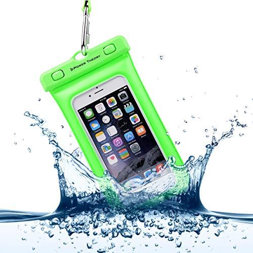 Power Theory wasserdichte Handyhülle - Wasserfeste Handytasche Handyschutz Cover Beutel Beachbag Tasche Handy Hülle Waterproof Case - iPhone X/XS 8 7 6s Samsung S10 S9 S8 S7 und viele mehr (Grün) -