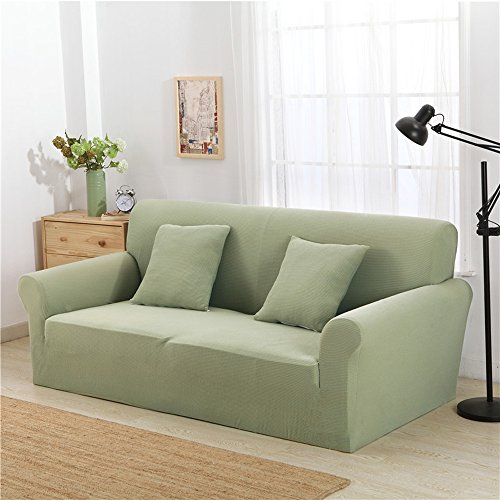 Stretch Sofa Cover, Anti-Slip Elastic Slipcover Soft Furniture Protector Couch Cover, Washable Polyester Spandex Fabric Stretch Slipcovers by Sunsang (Loveseat, Mint Green)