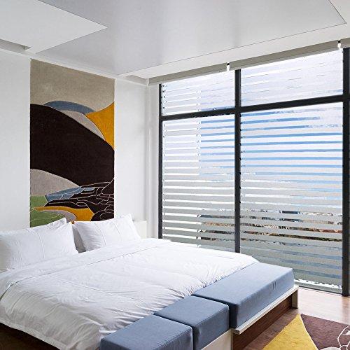 Zindoo Streifen Blickdicht Fensterfolie Sichtschutzfolie Selbstklebend Klebefolie Dekofolie