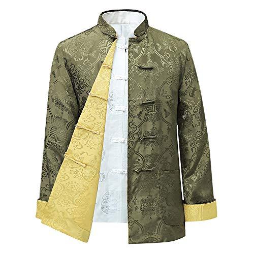 BOZEVON Männer/Frauen Chinesische Tang-Anzug Oberseiten - Beide Seiten Beschichten Jacke langärmelige Kampfkunst Kung Fu Hemden Chinesische Tang-Klage Nationale Kostüme, 2XL/Stil 04 - Männer