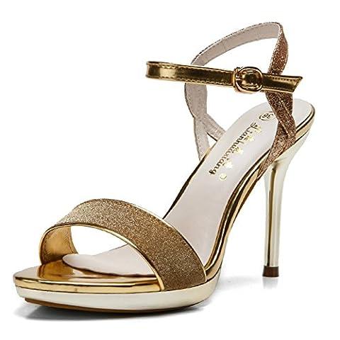 Meeshine Womens High Heel Wedding Court Shoes Stiletto Sandals Gold Size 4 UK