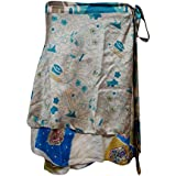 Mogul Interior Magic Wrap Skirt Beige Printed Reversible Two Layer Silk Sari Mini Skirts