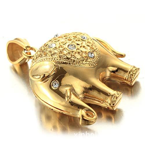 Daesar Silber 925 Halskette Herren Thailand Elefant mit Weiß Zirkonia Anhänger Kette Gold Freundschaftskette