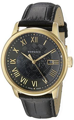Versace hombre vqs020015bañada en oro de negocios reloj de acero inoxidable