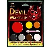 HALLOWEEN MAKE-UP MAKE-UP GESICHTSFARBE ZOMBIE VAMPIR HEXE CLOWN DEVIL FAMILIEN SET ROT WEIß SCHWARZ - Devil Make-up, One size