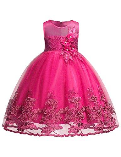 Hibelle Mädchen Party Kleidung Kind ärmellos Spitzenkleid 3D Blume Feiertag Ballkleider Ein...