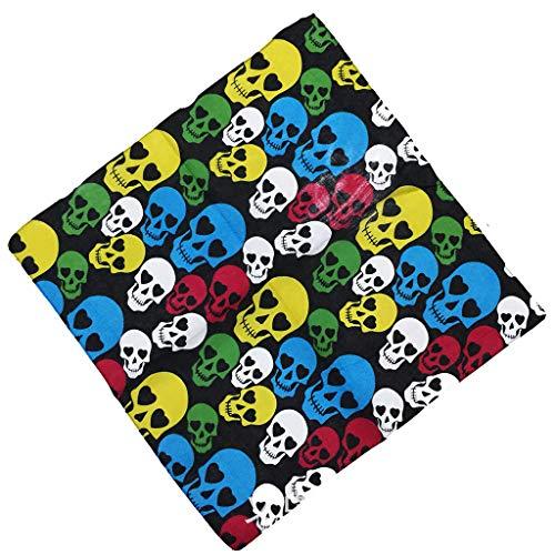 Gjyia Farbverlauf Bunte Halloween Schädel Kopf Unisex Baumwolle Einstecktuch Schal Motorrad Stirnband Bandana Hip-Hop-Armband Krawatte -