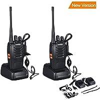 walkie talkie, BF-888S transceptor recargable 16 Canales, UHF 400-470 MHz, 105 CDCSS, Alcance de hasta 6 km VHF / UHF FM 5W, transmisores-receptores radio bidireccional con Auriculares-Negro (un par)