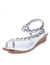 Sopily - Scarpe da Moda sandali Aperto Zeppe alla caviglia donna lucide Tacco a blocco tacco alto 7 CM - Rosa CM-F-95 T 38