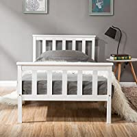 Single Bed Wooden Frame White Solid Pine for Adults, Kids, Teenagers