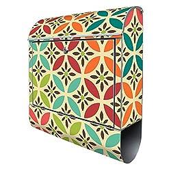 Banjado Design Briefkasten mit Motiv Diamant Muster | Stahl pulverbeschichtet mit Zeitungsrolle | Größe 38x47x14cm, 2 Schlüssel, A4 Einwurf, inkl. Montagematerial