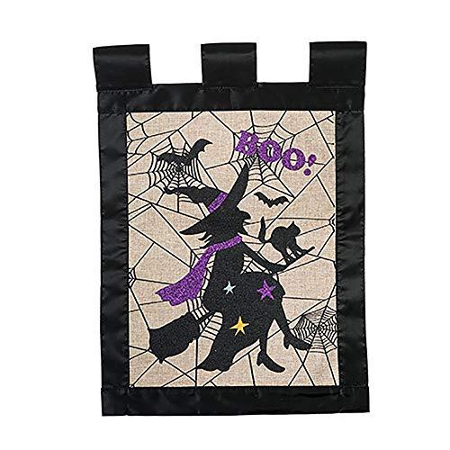 Darice Flags Halloween-Gartenflagge - Hexe auf Besen, Schwarze Katze, Fledermäuse, Spinnennetz, Jute mit schwarzem Rand - 30,5 x 45,7 cm - doppelseitig