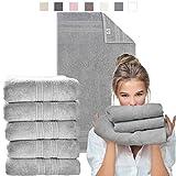 sei Design Luxus Frottee Handtuch Set Aqua Fibro | 5-er Pack | 100% Ägäis Baumwolle, 50 x 100, Taupe Hell
