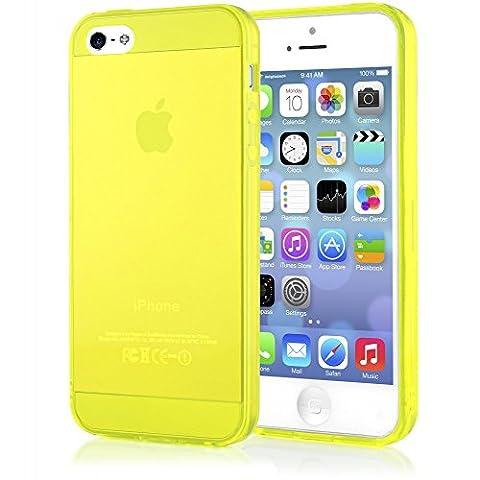 iPhone 5 5S SE Coque Silicone de NICA, Ultra-Fine Housse Protection Transparente Cover Slim Etui Résistante, Mince Telephone Portable Clear Gel Case Bumper Souple pour Apple iPhone SE 5S 5 - Jaune