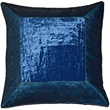 indio almohada funda de cojín terciopelo brocado Asia mesa decorativa con motivos orientales funda cojín azul, algodón, azul, 40 x 40 cm