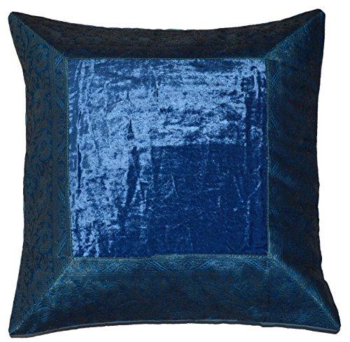 Deko Kissenbezug Kissenhülle Samt Brokat Asiatisch Indisch Orientalisch Bezug Kissen Blau 40x40 cm