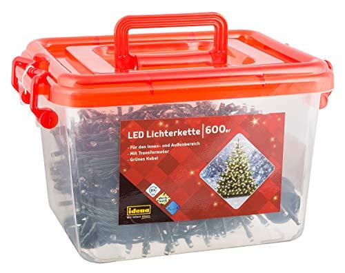 Idena LED Lichterkette, mit Timerfunktion 600er, warm weiß, für innen und außen, 31090