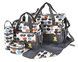 Laminated Water Proof Insulated Thermal 5pcs Baby Nappy Changing Hospital Bag (Grey Leaves) - just4baby - amazon.co.uk