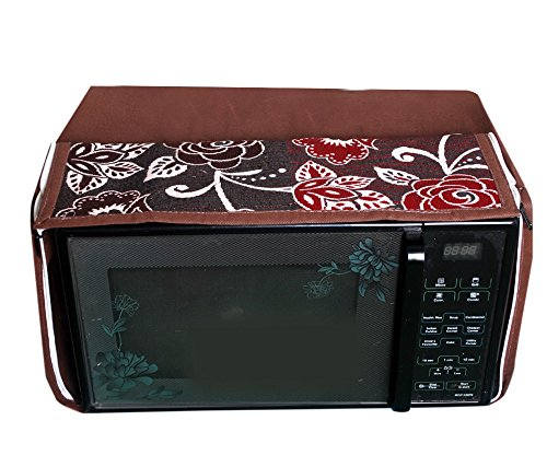 E-Retailer Brown Flower Printed Microwave Oven Cover for 25 LTR