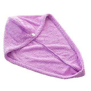 Amison magische Schnell trocknend Haar Handtuch Pferdeschwanz Handtuch Dame Microfiber Kappe (Lila)