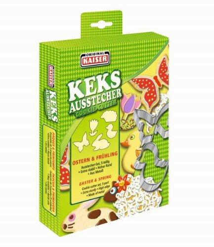Kaiser Keksausstecher Ostern/Frühling (5 Ausstechformen) in attraktiver Faltschachtel auch zum Verschenken geeignet