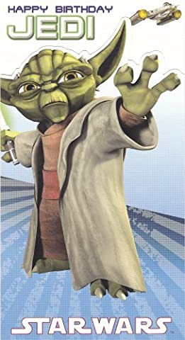 Star Wars Clone Wars - Yoda Birthday Card - Die Cut