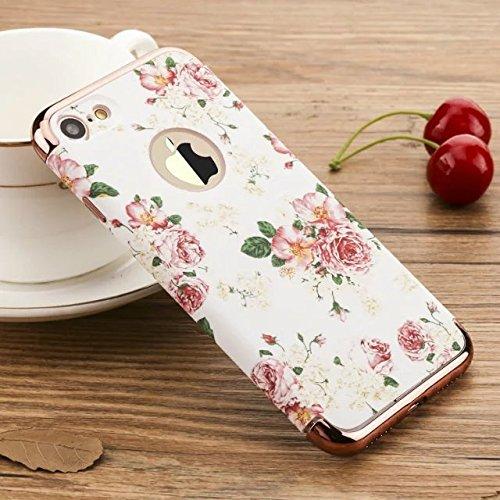 yhuisen Serie Blumen und Vögel 3in 1leicht matt stoßfest Furnier Metal Textur Haut Hard Case DE Schutz für iPhone 7Plus 7