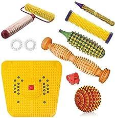 Acupressure Magnetic Stress Mat + Wooden Foot Roller For Knee Exercise + Wooden Acupressure Ball + Wooden Hand Roller For Body Massager+ Acupressure Pointer + Sujok finger Ring Best + Thumb Pressure +Kerala Roller Combo Kit