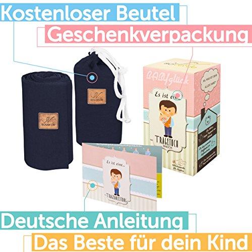 SOVERDE® Tragetuch - Babytragetuch für jede Größe I DUNKELBLAU I Inkl. Deutsche Binde Anleitung I Baby Erstausstattung - 2