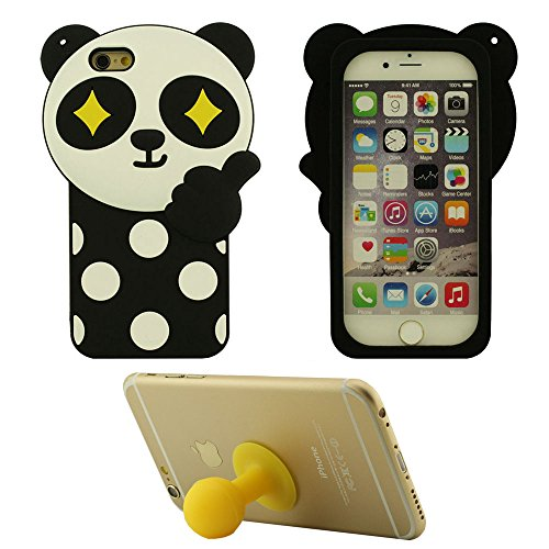 Doux Rubber Silicone Gel Coque 3D Cartoon Animal Panda Forme Mode Housse de protection Case pour Apple iPhone 6 Plus / iPhone 6S Plus 5.5 inch Anti choc + Silicone Titulaire jaune