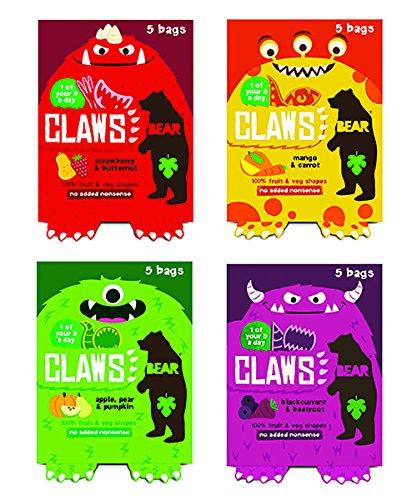 BEAR Nibbles CLAWS Pure Fruchtformen Auswahl 4 x 5 x 20g